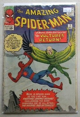 The Amazing Spider-Man #7 (Dec 1963, Marvel) 2ND VULTURE 2 ad pgs out FULL STORY