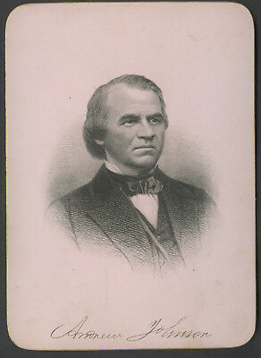 C. 1900 Presidential Cabinet Style Engraving Andrew Johnson