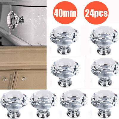 24PCS 40MM Diamond Clear Glass Crystal Cabinet Drawer Door Pulls Knobs Handle US
