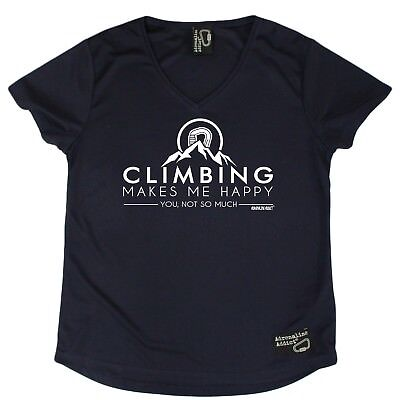 Ladies Climbing Climbing Makes me Happy Breathable DRY FIT V NECK T-SHIRT