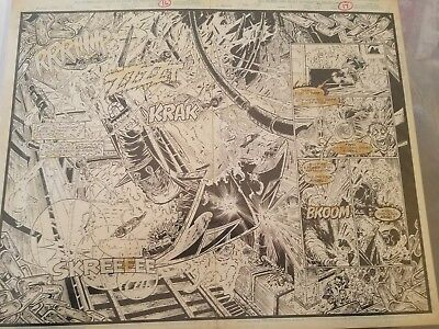 Original art Robert Brown Marvel's OTE Ghost Rider # 4 Pg 12 13 Double Splash
