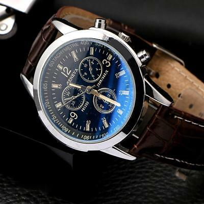 New Men's Leather Military Casual Analog Quartz Wrist Watch Business Watches