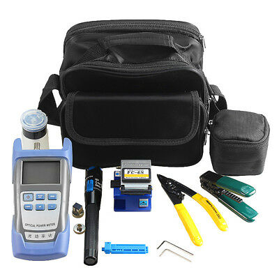New 10-in-1 Fiber Optic FTTH Tool Kit Power Meter FC-6S Optical Cleaver Finder
