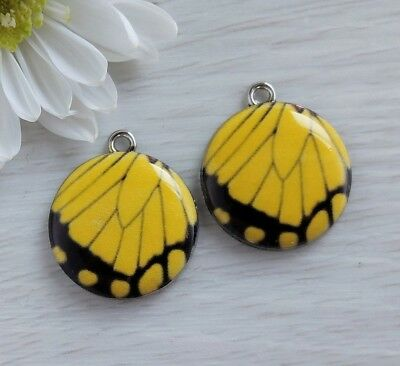 Yellow Butterfly Wing Charms 2/10pc - Enamel Metal Charm - Insect Pendant CH473