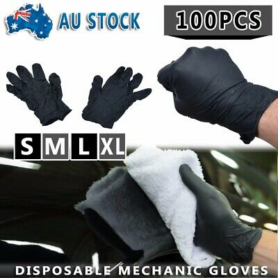 100Pc Black Disposable Mechanic Nitrile Gloves Tattoo Latex Powder Free Workshop
