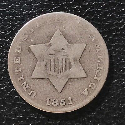 1851 Three Cent Piece Silver Trime 3c circulated mid grade #6865