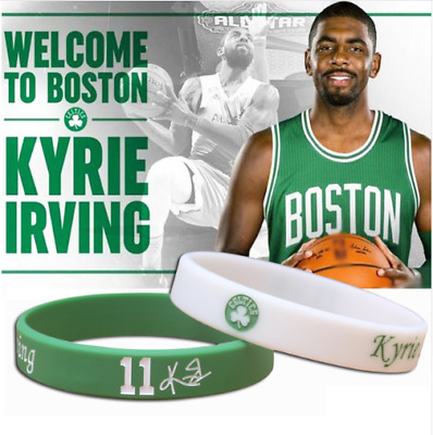 2 Kyrie Irving Boston Celtics Silikon Armband Weiss Grünn NBA Basketball Neu