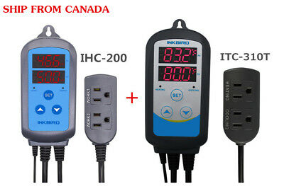 Digital Pre-wired Temp Humidity Controller Thermostat  ITC-310T +  IHC-200 110V