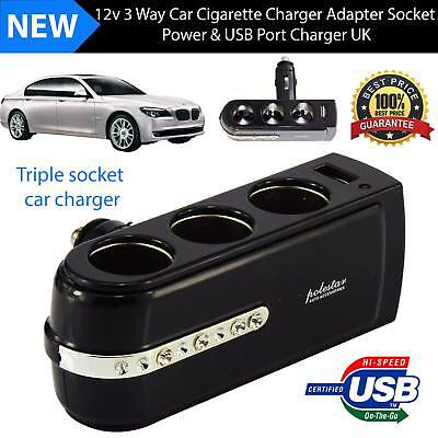 Car Cigarette Lighter Charger 3 Way 1 USB Port Splitter Socket 12V Adapter UK