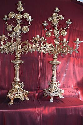 Pair of two gorgeous victorian gilded bronze candelabras 19 th century