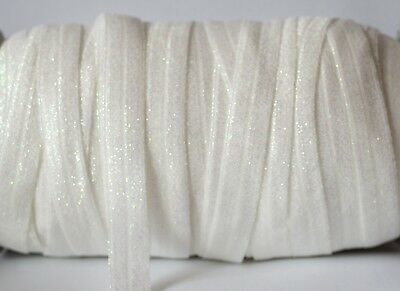 "1m X 5/8"" Foe Fold Over Elastic Ribbon Hair Bow Tie DIY Headband - Sparkle White"
