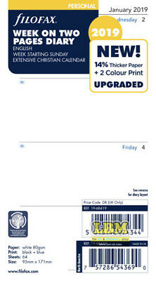 Filofax 2019 Personal size Diary - Week On Two Pages SUNDAY Start 19-68419