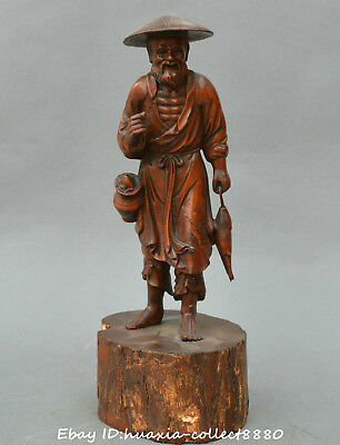 Collect Chinese boxwood wood carve Old Man Fisherman Fish Fish basket Statue