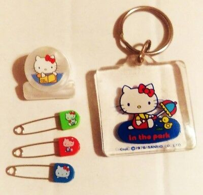 RARE Vintage Sanrio 1976 Hello Kitty Lot 3 Safety Pin Set Clip & Keychain Japan