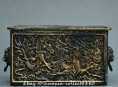Chinese fengshui Bronze carve two dragon play pearl casket jewelry box gift box