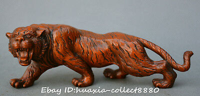 Collect China old boxwood wood Hand Carved ferocious ferocity tiger lucky statue
