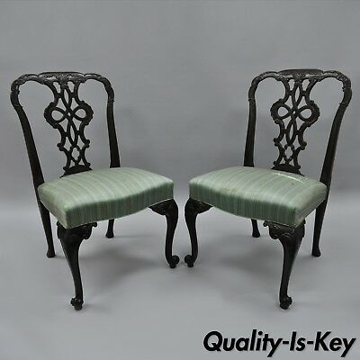 Pair Antique Solid Mahogany Georgian Style Dining Side Chairs Carved Ribbon Back