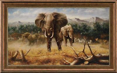 """Hand-painted Original Animals Oil painting art African Elephant on Canvas 30X50"""""""