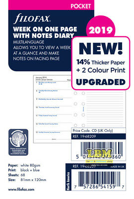 Filofax 2019 Pocket size Diary - Week On One Page with Notes Insert 19-68209