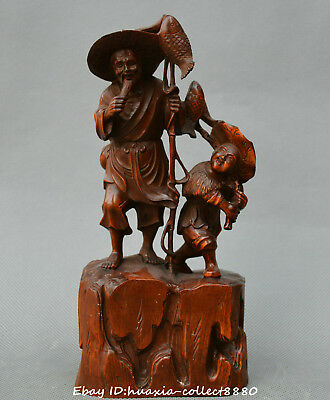 Collect Chinese boxwood carve old man boy fisherman go fishing fish Statue