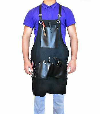 Barber/Hairdresser Black Apron (One size fits all) leather detail