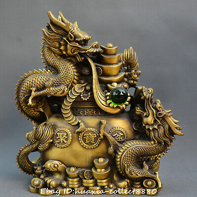 Chinese fengshui old bronze dragon play pearl treasure bowl wealth lucky statue