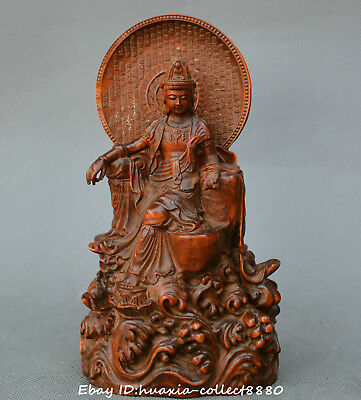 Collect Chinese boxwood wood Hand Carved Kwan-yin Guanyin Bodhisattva statue