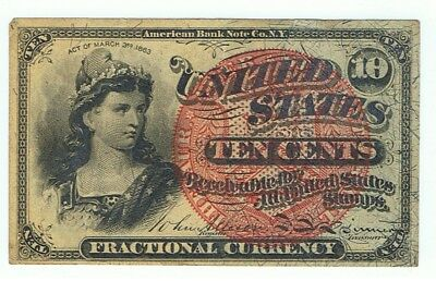 1863 10 Cents U.s. Fractional Currency American Bank Note, Ten Cents, F-Vf