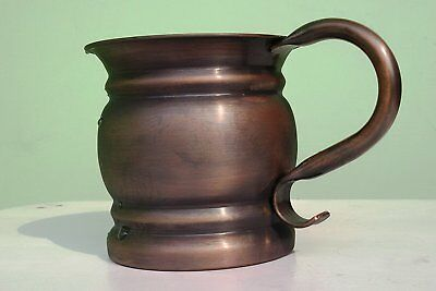 1 X Authentic Copper Old Fashion Smooth Moscow Mule Mug with Flat Lip & Antique