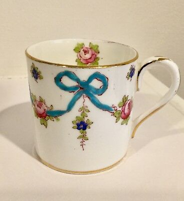 Crown Staffordshire Demitasse Cup Blue Bows Pink Roses Gold Trim F4547