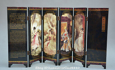 Collect Chinese Lacquer Wood Art Painting beautiful woman Screen folding screen