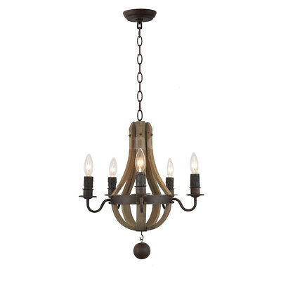 Retro Rustic Wood & Iron Wine Barrel Chandelier Pendant Lamp E12 Candle Lights