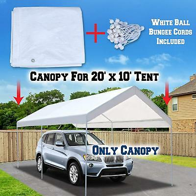 10x20' Top Roof Tarp Replacement CANOPY Cover w/ Bungee SHADE Motorcycle Boat