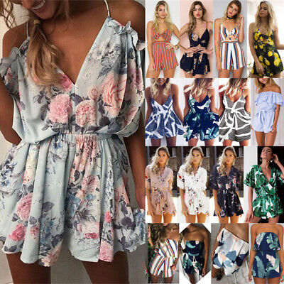 Plus Size UK 6-20 Womens Boho Holiday Mini Playsuit Dress Summer Beach Jumpsuit