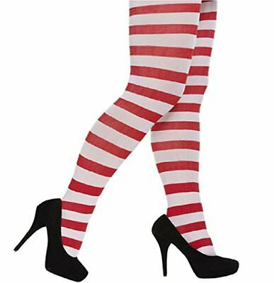 Ladies Teen Red and Green Stripy Elf Xmas Christmas Tights Fancy Dress Costume
