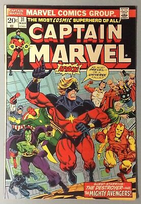 CAPTAIN MARVEL # 31 THANOS Bronze Age 1973 MARVEL Comic Stan Lee Jim Starlin