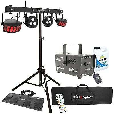 Chauvet DJ GigBar Flex Pack-n-Go Effect Lighting System + Stand + Fog Machine