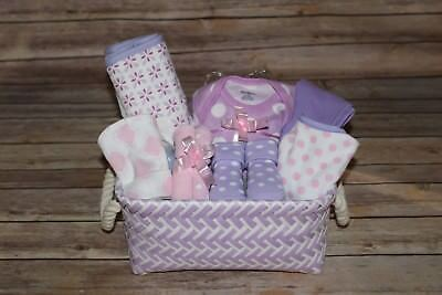Beautiful Baby Girl Purple Gift Basket, Perfect for Shower or Newborn Gift!