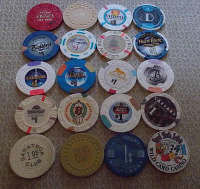LOT OF 20 mixed $1.00 casino hotel gaming chips