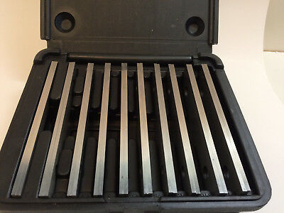 """Machinist's Thin Parallel Bar Set in Case 10 Pair 1/8"""" X 6"""" Good Used Condition"""