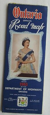 Vintage Road Map For Ontario, Canada 1953 Queen Eliz. II  Great Graphic On Cover