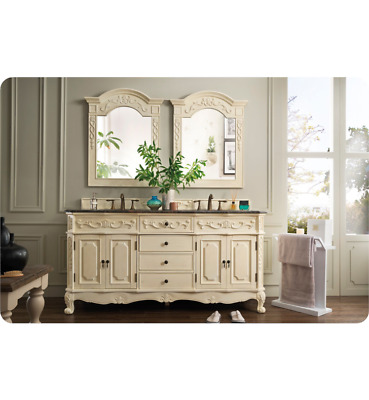 "James Martin Naples 72"" Double Sink Bathroom Vanity in White, 206-001-"