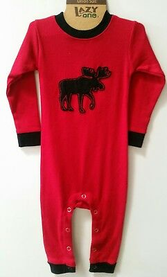 Red moose one piece infant pajamas BNWT 12 Month size
