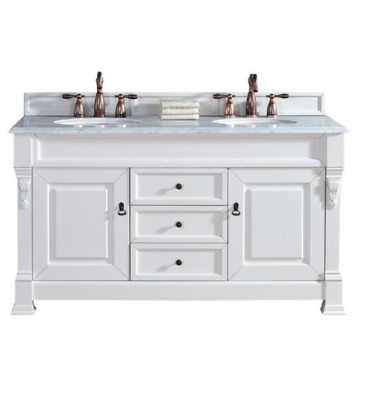 """James Martin Brookfield 60"""" Double Bathroom Vanity in Cottage White Finish"""