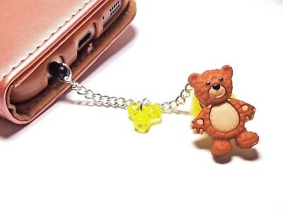 handmade dust plug charm for iphone android keychain teddy bear fashion