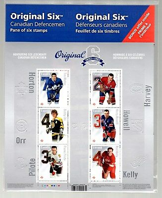 "Full Pane  2014 Nhl Original Six, Defenceman,  ""P"" Domestic Value, 6 Stamps,"