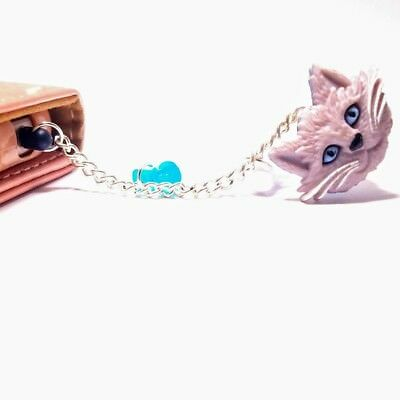 handmade dust plug charm for iphone android keychain White Kitten fashion