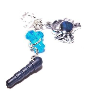 handmade dust plug charm for iphone android keychain blue stone crab fashion