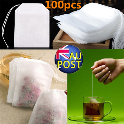 100pcs Empty Teabags String Heat Seal Filter Paper Herb Loose Tea Bags Hot CO
