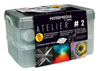 Pebeo Mixed Media Atelier Workbox Set #2 with Prisme, Moon, Vitrail Paint + More